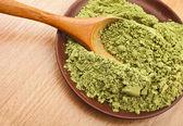 Polvo matcha té verde en cuchara — Foto de Stock