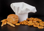 Wheat Ears, Bread and Chef Hat — Stock Photo