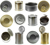 Collection set of tin cans — Stock Photo
