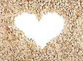 Pearl barley frame shape heart — Stock Photo