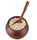 Pearl barley porridge in a clay pot — Stok fotoğraf