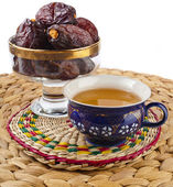 Ramadan eastern  drink with dates — Stock Photo