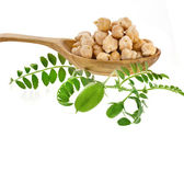 Chick peas over wooden spoon — Photo