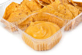 Nachos chips with cheese sauce — Foto de Stock