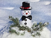 Happy Cheerful Christmas snowman — Stock Photo