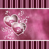 Two hearts and swirls pink — Stock Photo