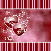Two hearts and swirls red — Stock Photo