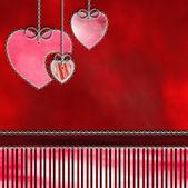 Tree hearts hanging — Stock Photo