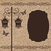 Floor lamp brown floral — Stock Photo