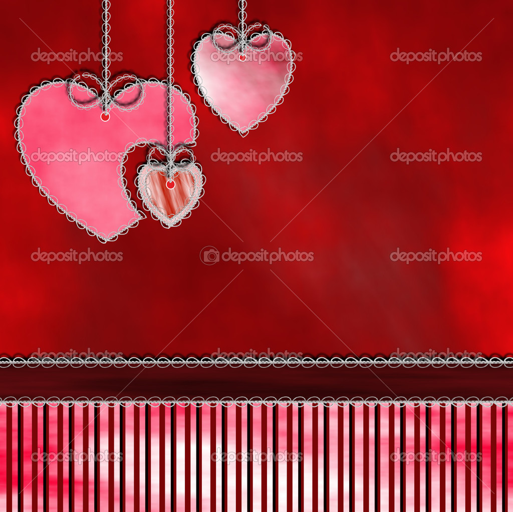Tree hearts hanging from the top on a red shade and striped background. — Stock Photo #19959161