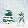 Royalty-Free Stock Photo: Snowman and a bird