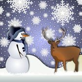 Snowman and a deer — Foto Stock