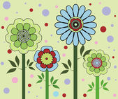 Cztery zielone kwiaty — Zdjęcie stockowe