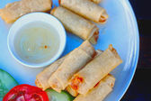 Food fried spring rolls with dipping sauce. — Stock Photo