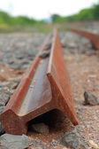 Railway sleepers - Steel ticket. — Stock Photo