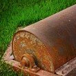 Steel roller parts car - put on the grass. — Foto Stock