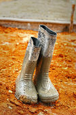 Rubber boots for construction. — Stock Photo