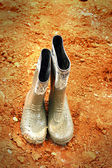 Rubber boots for construction. — Foto Stock