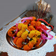 Stock Photo: Marigold garlands at temple.