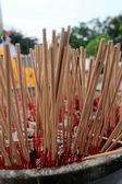 Incense sticks burning and in an altar at temple — Stockfoto