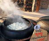 Shop steamed buns traditional Korea. — Stock Photo