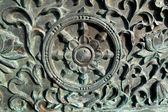 Surface of Style Bronze wall of the temple in Korea. — Stockfoto