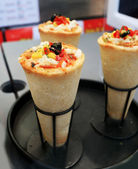 Italian cheese, ham, and pepper pizza cone Korea. — Stock Photo