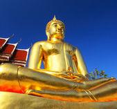 Meditating Bronze Buddha - Temple Thailand. — Stock Photo