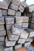 Grijze bakstenen voor bouw achtergrondstructuur — Stockfoto