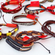 Stock Photo: Handmade leather wrist strap.