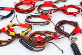 Handmade leather wrist strap. — Stock Photo