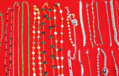 Gold and silver jewelry at the market — Photo