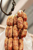 BBQ sausages in the market — Stock Photo