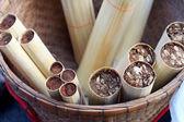 Klibbig ris stekt i bambu — Stockfoto