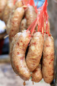 Asia sausage in market - red sausage — Stock Photo