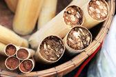 Lepkavá rýže, pečené v bambusu — Stock fotografie