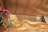 Reclining Buddha gold statue face,Thailand — Stockfoto