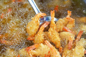 Japanese Cuisine - Tempura Shrimps fried in the kitchen. — Stock Photo