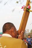 男人弹奏一种乐器市场,泰国 — 图库照片