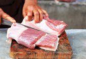 Fresh raw pork in the market — Stock Photo