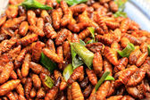 Fried silk worms in the market — Foto Stock