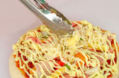Italian pizza shrimp cheese and pepper — Stock Photo