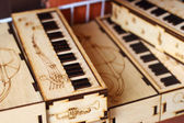 Vintage wooden music box piano.  — Stock Photo