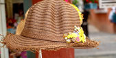 Artificial flowers the hat attached  — Стоковое фото