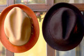 Hats for sale at the market — Stock Photo
