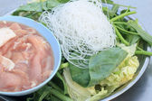 Marinated pork for sukiyaki - asia food — Stock Photo