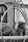 Beautiful of artificial flowers in vintage bicycle — Stock Photo