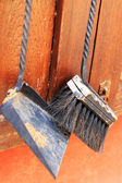 Decorative broom and a scoop of powder.  — Stock Photo
