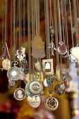 A lot brass necklace — Stock Photo