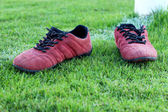 Red shoes green grass in a stadium. — Stock Photo